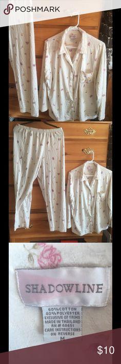 Pretty pajamas size Medium  Made by Shadowline. These are a size Medium pair of pajamas. Pretty floral pattern. These are in great condition. Shadowline Intimates & Sleepwear Pajamas