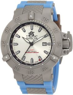 Men's Wrist Watches - Invicta Mens 1590 Subaqua Noma III Silver Dial Blue Silicone Watch ** Check out this great product.