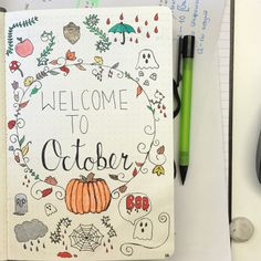 Doing my October spread early #bulletjournal #october #doodles