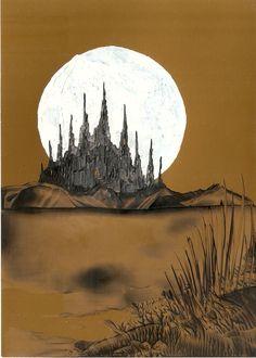 moonlight castle one of one if Sarah Andrews encaustic art paintings