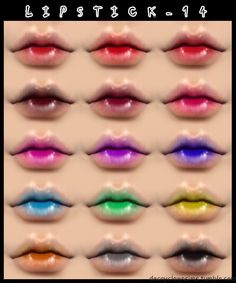L I P S T I C K _ 1 4 • Standalone • Non-Default • Female, all ages • 15 colors • Tag decayclownsims if you use it