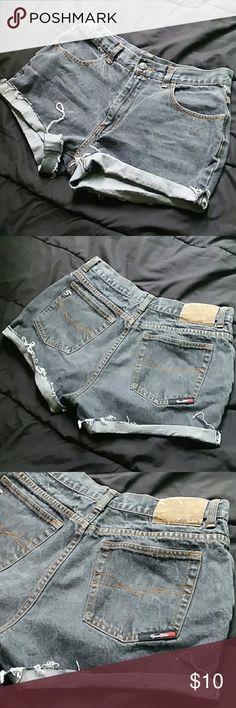 Vintage high waisted cutoffs Faded black denim vintagey cutoffs. They fit a womens 6-8. Shorts Jean Shorts
