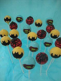 Super Hero Squad Party - popits cake pops: SUPER HERO POPS