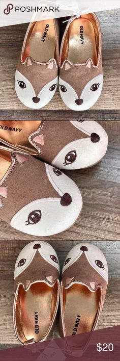 🎉HP 3/9🎉Critter Slip On Shoes These ballet flats have a shimmery gold insole, and are fashioned like a fox, with ears, in brown and white suede. The perfect pair of slip on shoes, NWT. Old Navy Shoes Dress Shoes