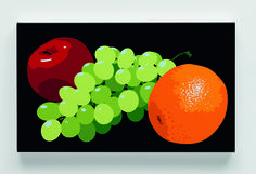 Julian Opie | Still life with orange, grapes and red apple (2001), Available for Sale | Artsy
