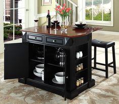 breakfast bar top kitchen island with black saddle stools