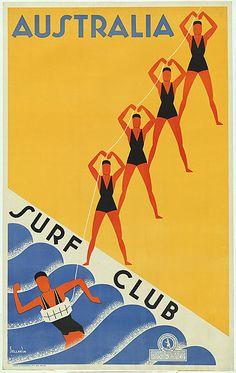 Gert Sellheim, Australia surf club. c.1936. planographic lithograph. via National Gallery of Australia