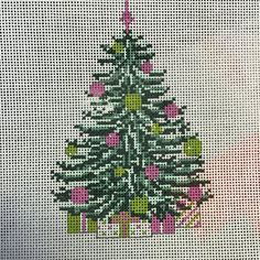 NEEDLE CROSSINGS  PINK TREE AND PRESENTS
