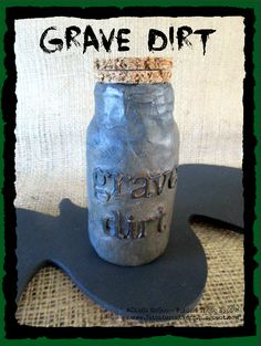 Grave Dirt altered aspirin bottle for Witch's Apothecary for Halloween - made with Makin's Clay® no bake air dry polymer clay by Cindi Bisson McGee - http://www.makinsclayblog.blogspot.com/2015/09/witchs-apothecary-by-cindi-mcgee.html