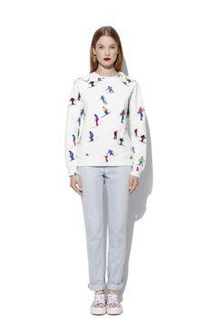 White jersey sweatshirt with Skiers print