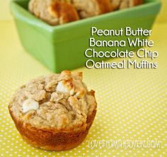 Peanut Butter Banana White Chocolate Chip Muffin Recipe by Love From The Oven Not impressed for the calories/fat - kind of gummy and should have baked at not Oatmeal Chocolate Chip Cookie Recipe, Chocolate Chip Muffins, White Chocolate Chips, Oatmeal Muffins, Breakfast Cookies, Eat Breakfast, Breakfast Recipes, Dessert Recipes, Healthy Treats
