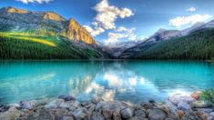 Lake Louise Village In Banff National Park In Canada Rocky Mountains Turquoise Water Peaks Stones Hd Desktop Wallpaper 1920×1200