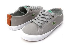LACOSTE Little Boy's Canvas Lace-Up Grey Sneakers, Size 12, Casual Shoes, NEW #Lacoste #CasualShoes