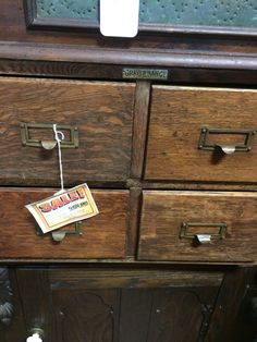 """We have a great old oak card catalog, 14"""" tall x 20"""", $150 from dealer H29 at Jesse James Antique Mall"""