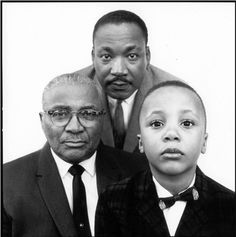 Three Generations- Martin Luther King Jr. with his father and son. Photo taken in 1963 by Richard Avedon.    (via Voxsartoria)