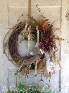 Rustic Lariat Rope Floral  Wreath with Burlap and Vintage Lace, Hydrangeas, Amaranthus, and Feathers by GypsyFarmGirl