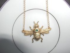 Bee Happy Brass and Gold Necklace by luvswoodencars2 on Etsy, $12.00