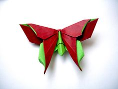 Origami butterfly . Easy to do. Ideas for romantic gift. Wall and table ...