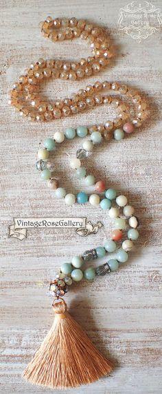 Summer Silk Tassel Necklace, #VintageRoseGallery #etsy Amazonite Tassel Necklace, Statement Tassel Necklace by VintageRoseGallery