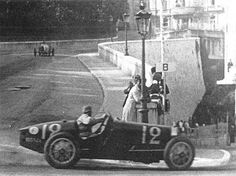 The First Monaco GP in 1929, winning Bugatti driven by William Grover-Williams.