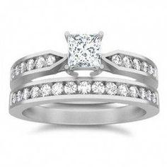 08676f7b6122 1 Carat Princess cut Diamond Affordable Wedding Ring Set On 10K White Gold   diamondringsmodernwhitegold