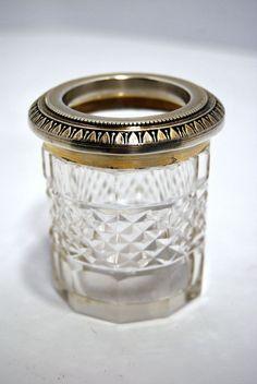 CRISTAL & VERMEIL pot cerclé poinçonné Minerve 1er titre St Louis, Pots, Wedding Rings, Engagement Rings, Jewelry, Enagement Rings, Jewlery, Jewerly, Schmuck