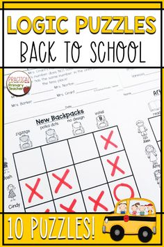 These logic puzzles have a fun back to school theme. These brain teasers are great for introducing grid puzzles to elementary students! Perfect for building critical thinking and problem solving skills. Includes answer keys! Back To School Activities, School Resources, Classroom Resources, Math Activities, Teaching Resources, Grid Puzzles, Logic Puzzles, 2nd Grade Classroom, Primary Classroom