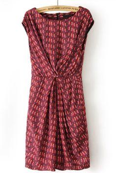 Red Short Sleeve Bandeau Birds Print Dress - Sheinside.com