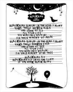 Lyrics I Love The Beatles Blackbird by sophandson on Etsy