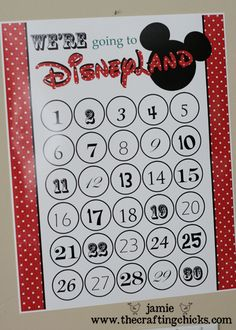 Printable Disney countdown calendar - We are not telling the girls (I hope) we are going until we are a couple miles away.  But I still may print this for me.  Might look nice in my locker at work.  Good incentive to keep happy.