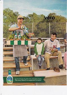 HIDDEN VALLEY 2014 print art ad dressing veggies retro bleachers vendor man boy
