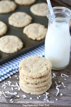 Chewy Coconut Oatmeal Cookies made with coconut oil. Recipe on http://www.twopeasandtheirpod.com