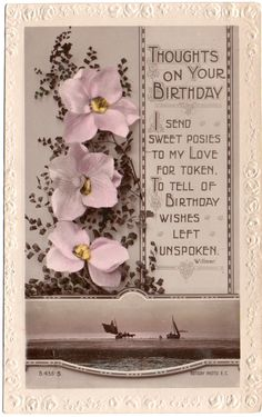 Rotary Song Postcard Thoughts on Your Birthday Orchids & Yachts