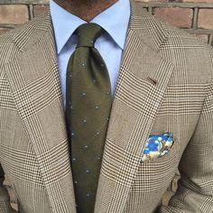 "Viola Milano ""Grenadine Dots - Army Green"" tie & handrolled silk pocket square…Viola Milano"