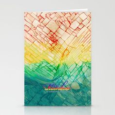 Rainbow typograph with Cracked out Glass STATIONERY CARDS  #stationerycard #card #painting #oil #acrylic #typography #pattern #abstract #vangogh #starrynight #broken #rupture #damaged #crackedout #lifequotes #retro