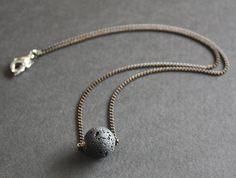 Black basalt stone necklace