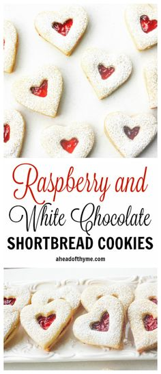 Raspberry and White Chocolate Shortbread Cookies: This Valentine's Day, show your boo how much you care with these cute and delicious raspberry and white chocolate heart-shaped shortbread cookies | aheadofthyme.com