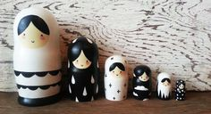 6 Piece Minimalist, Hand Painted, Hand Carved, Russian Nesting Doll Set, Nesting Dolls