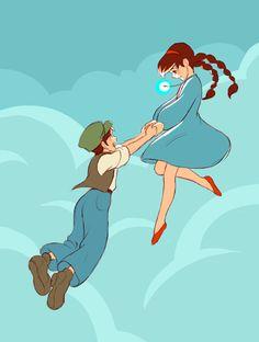 Sheeta, We're floating!  [Castle in the Sky]