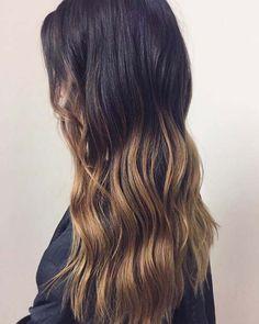 Dark Brunette with Warm Blonde Ombre