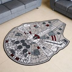 Star Wars and Star Trek Area Rugs. You can choose to geek out with either The Official Star Wars Millenium Falcon Rug or the … Star Wars Decor, Decoration Star Wars, Star Wars Nursery, Star Wars Bedroom, Millennium Falcon, Star Wars Kindergarten, Boy Room, Kids Room, Rugs