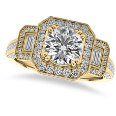 Allurez Diamond Vintage Square Halo Engagement Ring 14k Yellow Gold... (507.055 RUB) ❤ liked on Polyvore featuring jewelry, rings, engagement rings, round diamond ring, diamond band ring, round cut engagement rings and diamond rings