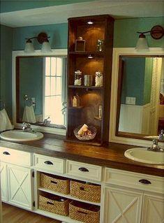 Nice 125 Best Farmhouse Bathroom Vanity Remodel Ideas https://roomadness.com/2018/01/14/50-best-farmhouse-bathroom-vanity-remodel-ideas/