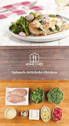 An appetizer no more! We've made it before with pasta, but now we're smothering the gooey, creamy spinach-artichoke dip you love from many. Spinach Artichoke Chicken, Basil Chicken, Artichoke Dip, Onion Chicken, Chef Recipes, Healthy Recipes, Healthy Foods, Healthy Eating, Healthy Dishes