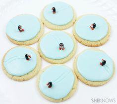 Ice skating penguin cookies