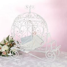 cinderella bridal shower   Cinderella Fairytale Carriage Wedding Card Box   Topiary Trees ...