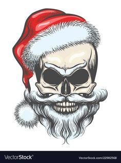 The skull of santa claus vector image on VectorStock Santa Claus Vector, Santa Claus Hat, Top Hat Drawing, Reindeer Face, Totenkopf Tattoos, Stoner Art, Biker Quotes, Skull Wallpaper, Dark Christmas