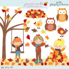 Girls Playing in Leaves Cute Digital Clipart  by JWIllustrations