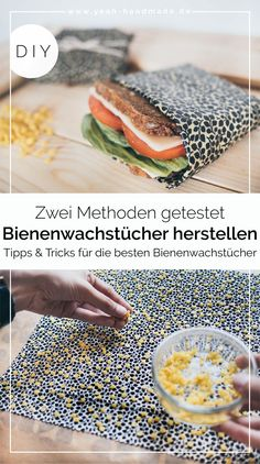 Make DIY beeswaxes yourself - two methods- DIY Bienenwachstücher selber machen – zwei Methoden DIY Pot Mason Diy, Mason Jar Crafts, Diy Flowers, Crocheted Flowers, Fabric Flowers, Diy Crafts To Sell, Sell Diy, Easy Crafts, Diy Kitchen