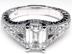 Vintage Emerald Cut Diamond Engagement Rings